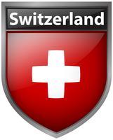Drapeau suisse sur la conception de badge vecteur
