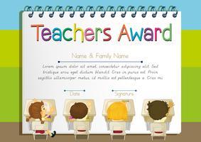 Modèle de certificat pour le prix des enseignants vecteur