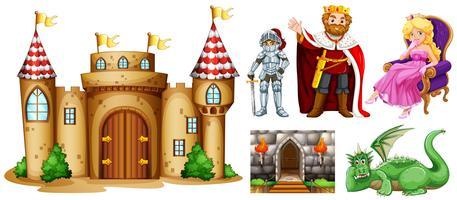Personnages de conte de fées et palais vecteur