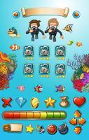 Modèle de jeu avec des plongeurs et des animaux marins vecteur