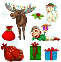Set de Noël avec des rennes et des cadeaux vecteur