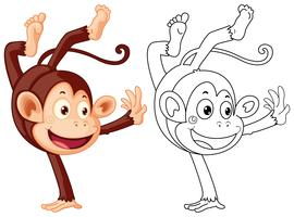 Doodles dessinant animal pour singe retournant vecteur