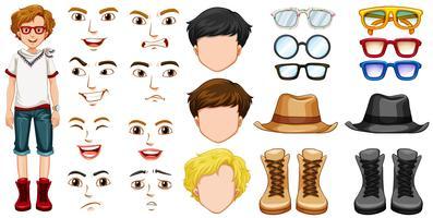 Adolescent avec différents accessoires et émotions