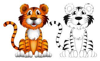 Contour animalier pour tigre vecteur