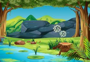 Scène avec rivière dans la forêt vecteur
