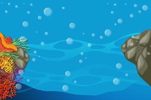 Scène sous-marine avec récif de corail coloré vecteur