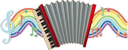 accordéon avec symboles de mélodie sur la vague arc-en-ciel vecteur