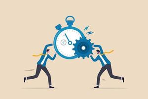 l'efficacité ou la productivité, gérer les ressources et le temps pour optimiser le meilleur résultat de travail, augmenter les performances avec un processus efficace, l'homme d'affaires combine la minuterie d'horloge et la roue dentée pour une meilleure efficacité. vecteur