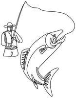 pêcheur à la mouche attrapant la truite sautant dessin au trait continu vecteur