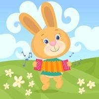 lapin duveteux jaune, jouant de l'accordéon, tout en sautant à travers le champ plein de fleurs vecteur