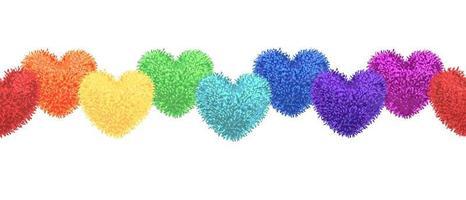 Vector illustration colorée d'éléments décoratifs avec des pompons de couleur arc-en-ciel en forme de guirlande de coeur isolé sur fond blanc. décor pour la Saint-Valentin ou la conception de douche de bébé. modèle sans couture
