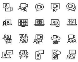 ensemble simple d'icônes de lignes vectorielles liées à la vidéoconférence. contient des icônes telles que le chat de groupe, la caméra avec vue à 360 degrés, l'appel vidéo, etc. vecteur
