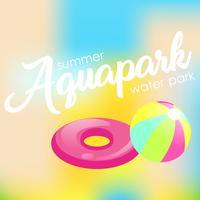 """Texte """"Aquapark"""" sur un arrière-plan flou vecteur"""