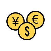 Icône de monnaies de vecteur
