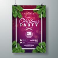 Vector design flyer fête de Noël avec des éléments de typographie de vacances et branche de pin sur fond violet.