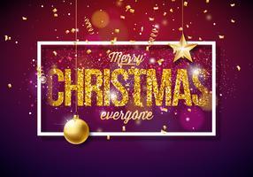 Illustration de vecteur joyeux Noël sur fond clair brillant avec des éléments de typographie et de vacances. Étoiles en papier à découper, confettis, serpentine et boule ornementale.