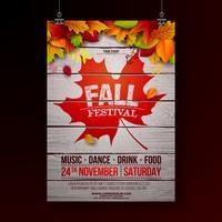 Autumn Party Flyer Illustration avec la chute des feuilles et la conception de la typographie sur fond bois vintage. Vector design de festival d'automne automne pour invitation ou affiche de fête de vacances.