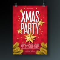 Vector illustration de flyer joyeux noël fête avec éléments de typographie de vacances et ballon ornement or, étoile de papier découpé sur fond rouge.