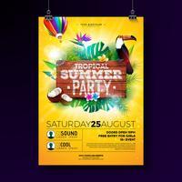 Vector Summer Beach Party Flyer Design avec des éléments typographiques sur fond de texture bois. Plantes tropicales, fleur, oiseau toucan, noix de coco et montgolfière