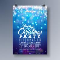 Conception de flyer fête de vecteur joyeux Noël avec des éléments de typographie de vacances, flocon de neige et guirlande lumineuse sur fond bleu brillant. Illustration d'invitation affiche de célébration.