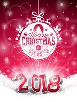 Vecteur de Noël et bonne année 2018 Illustration sur fond rouge brillant avec élément de typographie de vacances et nombre 3d. Conception de vacances