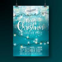 Conception de fête de vecteur joyeux Noël avec des éléments de typographie de vacances et guirlande lumineuse sur fond brillant. Illustration de célébration Fliyer. EPS 10.