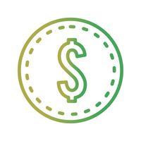 Icône de pièce de dollars de vecteur