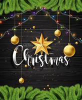 Illustration de vecteur joyeux Noël sur fond bois vintage avec des éléments de typographie et de vacances. Étoiles, branche de pin et boule ornementale. Conception EPS 10.