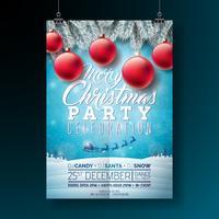 Vector illustration de flyer joyeux fête avec la typographie et les éléments de vacances sur fond bleu. Modèle d'Affiche d'invitation de paysage d'hiver.