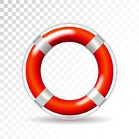 Bouée de sauvetage isolée sur fond transparent. Illustration vectorielle détaillée pour votre conception. vecteur