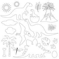 dinosaures à contour noir vecteur