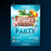 Vector Summer Beach Party Flyer Design avec des éléments typographiques sur fond de texture bois. Éléments floraux de la nature estivale