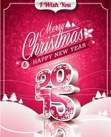 Vector illustration de Noël avec un design typographique sur fond de paysage