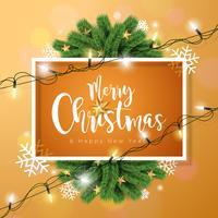 Illustration de vecteur joyeux Noël sur fond marron avec typographie et guirlande lumineuse de vacances, branche de pin, flocons de neige et boule ornementale.