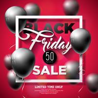 Black Friday Vente Vector Illustration avec des ballons brillants sur fond rouge. Modèle de conception de promotion pour bannière ou une affiche.