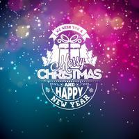 Illustration vectorielle sur un thème de Noël avec des lumières rougeoyantes et la typographie. Conception créative de vacances pour carte de voeux.