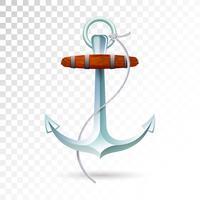 Ancre de navires et corde isolée sur fond transparent. Illustration vectorielle détaillée pour votre conception.