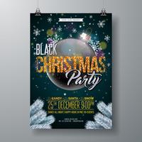 Illustration de Flyer fête de Noël noir avec des éléments de typographie pailletée et boule ornementale sur fond sombre brillant. Conception d'affiche de célébration de vecteur.