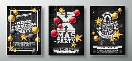 Vector Illustration de Flyer fête de joyeux Noël avec étoile en papier découpé or, boule de verre et élément de typographie sur fond noir en bois vintage. Modèle d'affichette invitation ensemble de trois variations.