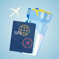 Passeport étranger Deux billets d'avion vecteur