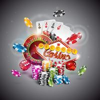 Illustration vectorielle sur un thème de casino avec des couleurs jouant des jetons et des cartes de poker