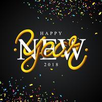 Bonne année 2018 Illustration avec un design de typographie de tube entrelacé et des confettis colorés sur fond noir. Conception de vacances vecteur EPS 10.