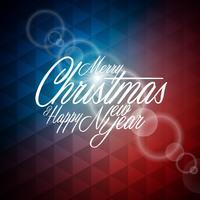 Vector illustration de Noël avec un design typographique sur abstrait géométrique