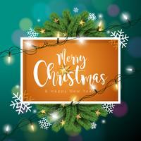 Illustration de vecteur joyeux Noël sur fond vert foncé avec la typographie et guirlande lumineuse de vacances, branche de pin, flocons de neige et boule ornementale.