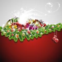 Illustration de Noël avec des coffrets cadeaux sur fond rouge vecteur