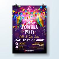 Festa Junina Party Flyer Illustration avec drapeaux et lanterne en papier sur fond de feu d'artifice. Vecteur Brésil Festival Festival Design pour invitation ou affiche de fête de vacances.