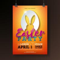 Vector Easter Party Flyer Illustration avec des oreilles de lapin en coupant des éléments de silhouette et de la typographie de l'oeuf sur fond orange. Modèle de conception affiche printemps vacances fête.