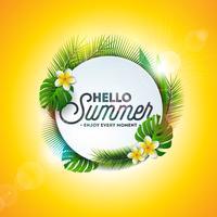 Vector illustration de typographie Bonjour vacances d'été avec des plantes tropicales et des fleurs sur fond jaune. Modèle de conception de bannière, flyer, invitation, brochure, affiche ou carte de voeux.