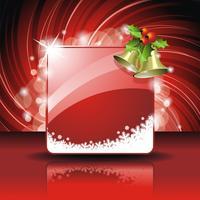 Vector illustration de Noël avec houx et cloches sur fond rouge