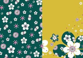Paquet de papier peint vecteur floral émeraude